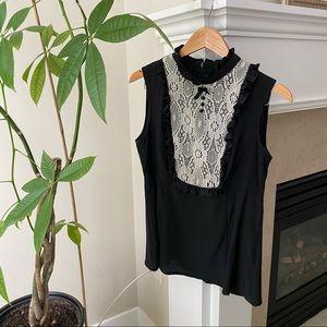NANETTE LEPORE Black Beige Lace 100% Silk Blouse